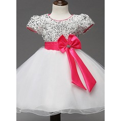 A-Line/Princess Knee-length Flower Girl Dress - Cotton Blends Short Sleeves Scoop Neck With Sash/Sequins/Bow(s)/Rhinestone