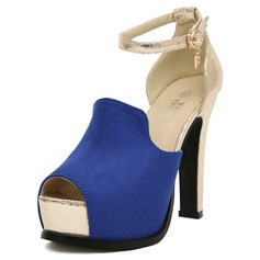 Suede Leatherette Chunky Heel Peep Toe Platform Pumps With Buckle (085025152)
