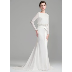 Trumpet/Mermaid Scoop Neck Court Train Chiffon Wedding Dress With Ruffle Bow(s)