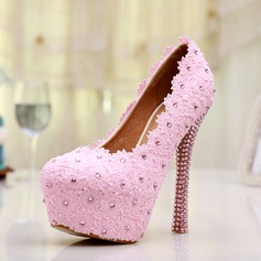 Women's Lace Stiletto Heel Closed Toe Platform Pumps With Rhinestone