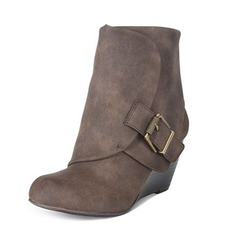 Women's Leatherette Wedge Heel Boots Ankle Boots With Buckle shoes