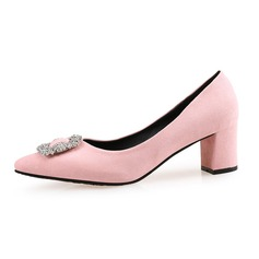 Women's Suede Chunky Heel Pumps Closed Toe shoes (085087453)
