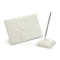 Pretty Satin Bow Guestbook/Pen Set