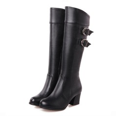 Women's Leatherette Chunky Heel Over The Knee Boots With Buckle shoes