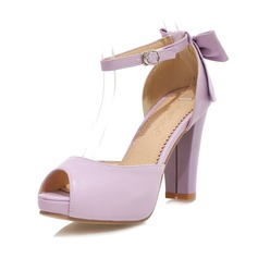 Leatherette Chunky Heel Sandals Pumps With Bowknot shoes