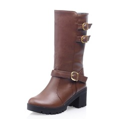 Women's Leatherette Chunky Heel Mid-Calf Boots With Buckle shoes