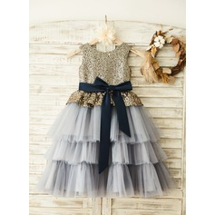 A-Line/Princess Tea-length Flower Girl Dress - Tulle/Sequined Sleeveless Scoop Neck With Sash/Sequins/Bow(s)