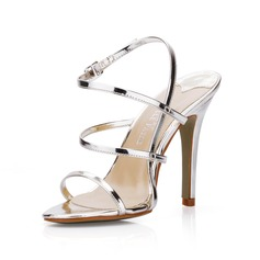Patent Leather Stiletto Heel Slingbacks Sandals