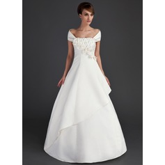 A-Line/Princess Off-the-Shoulder Floor-Length Satin Wedding Dress With Ruffle Beading Flower(s) Sequins