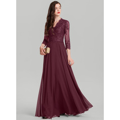 A-Line/Princess V-neck Floor-Length Chiffon Evening Dress (017126609)