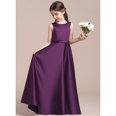 A-Line/Princess Scoop Neck Floor-Length Satin Junior Bridesmaid Dress (009087890)