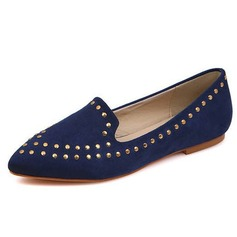Suede Flat Heel Flats Closed Toe With Rivet shoes