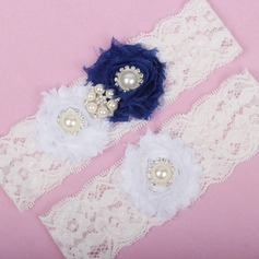 Marvelous Lace/Chiffon With Rhinestone/Imitation Pearls Wedding Garters
