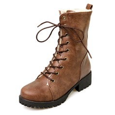 Women's Leatherette Low Heel Platform Closed Toe Mid-Calf Boots With Braided Strap shoes