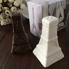 Eiffel Tower Design Ceramic Salt & Pepper Shakers With Ribbons/Tag