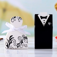 Tuxedo & Gown Cuboid Favor Boxes With Ribbons (Set of 6 Pairs)