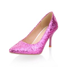 Sparkling Glitter Cone Heel Pumps Closed Toe shoes
