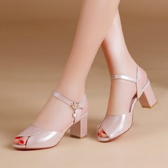 Women's Real Leather Chunky Heel Peep Toe Pumps With Buckle