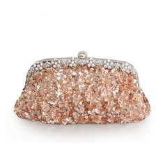 Charming Satin/Sequin With Crystal/ Rhinestone/Sequin/Acrylic Jewels Clutches