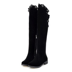 Women's Suede Low Heel Platform Knee High Boots shoes