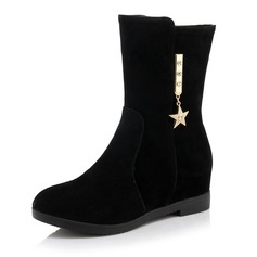 Women's Suede Wedge Heel Wedges Boots Mid-Calf Boots With Rhinestone shoes