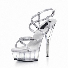 Leatherette Stiletto Heel Sandals Pumps Platform Peep Toe Slingbacks With Rhinestone Buckle Crystal Heel shoes