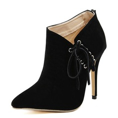 Suede Stiletto Heel Pumps Ankle Boots With Lace-up shoes