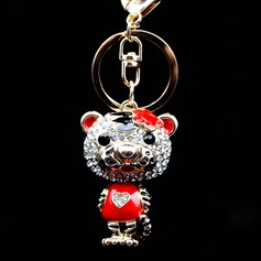 Classic Cute Tiger Design Crystal/Chrome Keychains