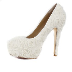 Women's Lace Stiletto Heel Closed Toe Platform Pumps With Flower