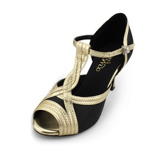 Women's Satin Heels Latin Ballroom With T-Strap Buckle Dance Shoes