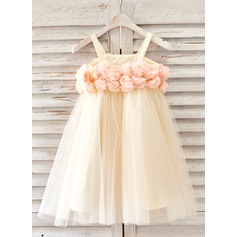 A-Line/Princess Knee-length Flower Girl Dress - Tulle Straps With Flower(s)