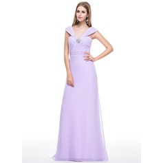 Trumpet/Mermaid V-neck Sweep Train Chiffon Evening Dress With Ruffle Beading Sequins Bow(s)