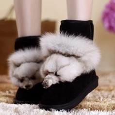 Women's Real Leather Flat Heel Platform Ankle Boots With Fur Split Joint shoes
