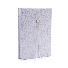 Silver Scroll Satin Faux Pearl Guestbook