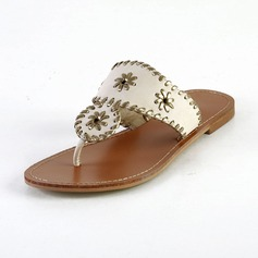 Leatherette Flat Heel Sandals Flats Flip Flops With Braided Strap shoes