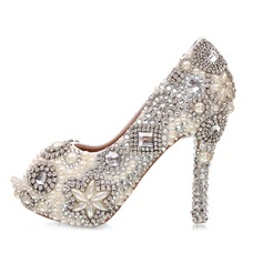 Women's Real Leather Stiletto Heel Peep Toe Platform Pumps Sandals With Imitation Pearl Rhinestone