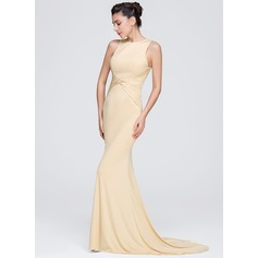 Trumpet/Mermaid Scoop Neck Sweep Train Jersey Evening Dress With Ruffle