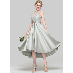 A-Line/Princess Scoop Neck Asymmetrical Satin Cocktail Dress With Sequins