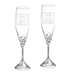 Personalized Heart with Heart Design Glass/Aluminum Toasting Flutes