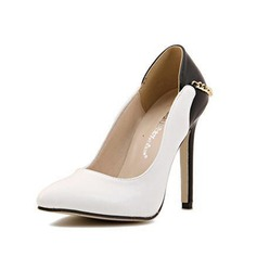 Leatherette Stiletto Heel Pumps Closed Toe With Chain shoes