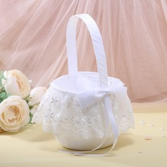 Nice Flower Basket in Satin With Bow/Lace