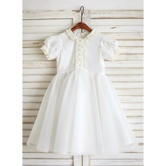 A-Line/Princess Tea-length Flower Girl Dress - Tulle/Cotton Short Sleeves Shirt collar