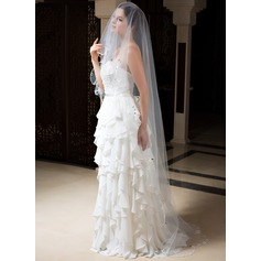 One-tier Cathedral Bridal Veils With Ribbon Edge