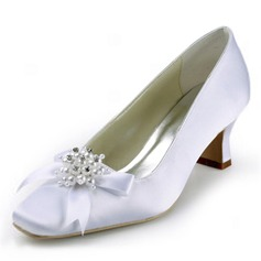 Women's Satin Chunky Heel Closed Toe Pumps With Beading Bowknot Imitation Pearl