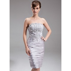 Sheath/Column Scalloped Neck Knee-Length Charmeuse Cocktail Dress With Ruffle Beading