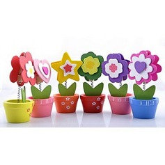 Flower Design Wooden Place Card Holders (Set of 6)