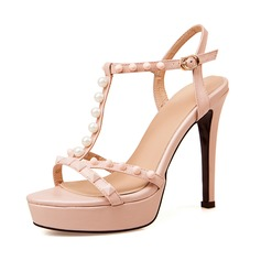 Real Leather Stiletto Heel Sandals Platform Peep Toe Slingbacks With Imitation Pearl Rivet Buckle shoes