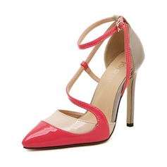 Leatherette Stiletto Heel Pumps Closed Toe With Buckle Split Joint shoes