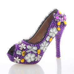 Women's Real Leather Stiletto Heel Peep Toe Platform Pumps With Rhinestone Crystal