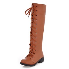 Women's Leatherette Low Heel Flats Closed Toe Boots Knee High Boots shoes